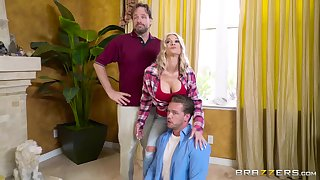 Energized blonde gags and fucks hubby's best friend in a domicile cuckold