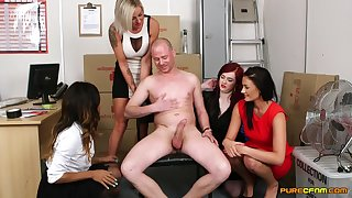 Guy with a huge dick gets pleasured by four be proper of cock itchy models