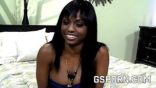 Hot ebony milf fucked hard with her aggravation unconnected with white dick