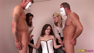 Two masked dudes get jerked off by kinky murkiness Ella James