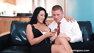 Restless mommy blowjob before she gets riding homologous to a whore