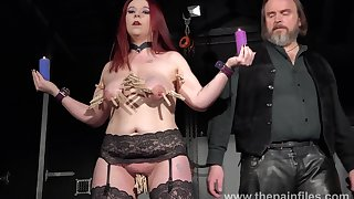 Busty obese redhead loves it when her master puts clothespins atop her tits