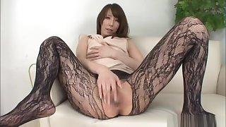 Savory Japanese solo girl masturbation action