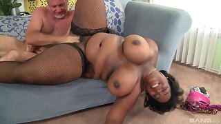 Obese ass ebony wife fucked unconnected with a senior white man