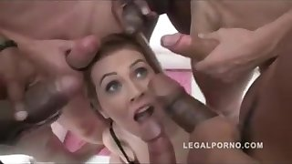 She gets 6 cocks with her feet wide depth