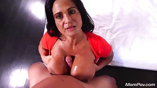 Pov titjob nearby an increment of sex nearby busty Latina mature mom - cumshot