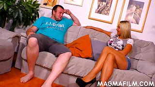 Fat fuck seduces a matured woman plus fucks her on the couch