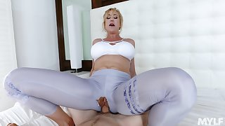 Mommy loads her virgin cunt close by the law son's endless dong