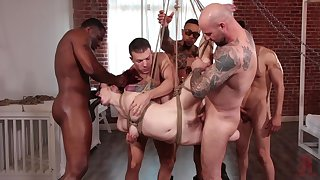Bondage way-out with a wife in love with gagging ergo many dicks