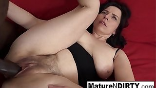 Mature with regard to natural tits gets a creampie with regard to her hairy pussy!