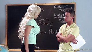 Blonde college teacher Nina Elle loves having sexual congress with her student