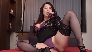 Clothed Japanese mature is ready to take down will not hear of undies