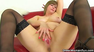 Big ass matures are wearing erotic lingerie and stockings and toying their hairy pussies for fun