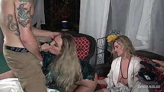Swinger housewives sharing cocks in homemade foursome video