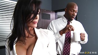Office lady Shay Sights fucked by a large black penis in the wind