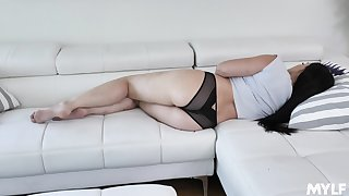 Hot stepmom taking dirty and toying her wet and yummy pussy