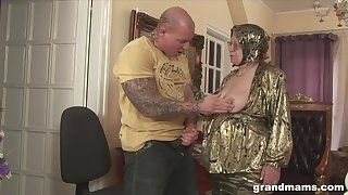 Rich granny is fucked and jizzed by huge tattooed jock